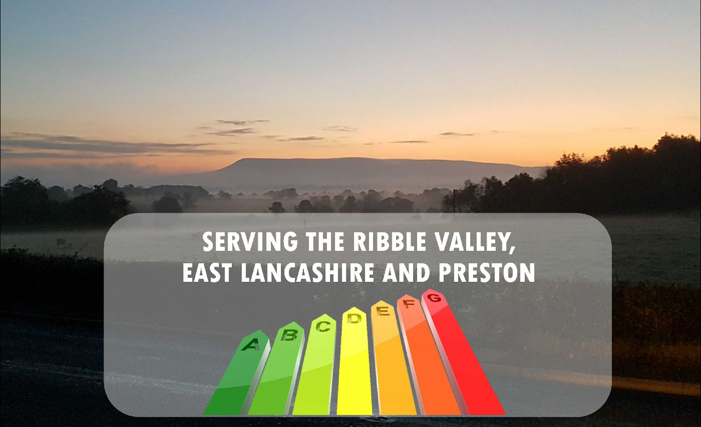 A pictur of pendle hill in the ribble valley with an energy scale layered into it stating 'serving the ribble valley, east lancashire and preston'
