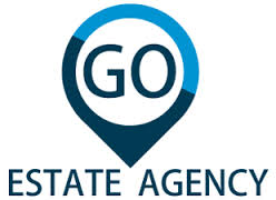 The company logo used by Go Estate Agency with the word go in a tear drop graphic