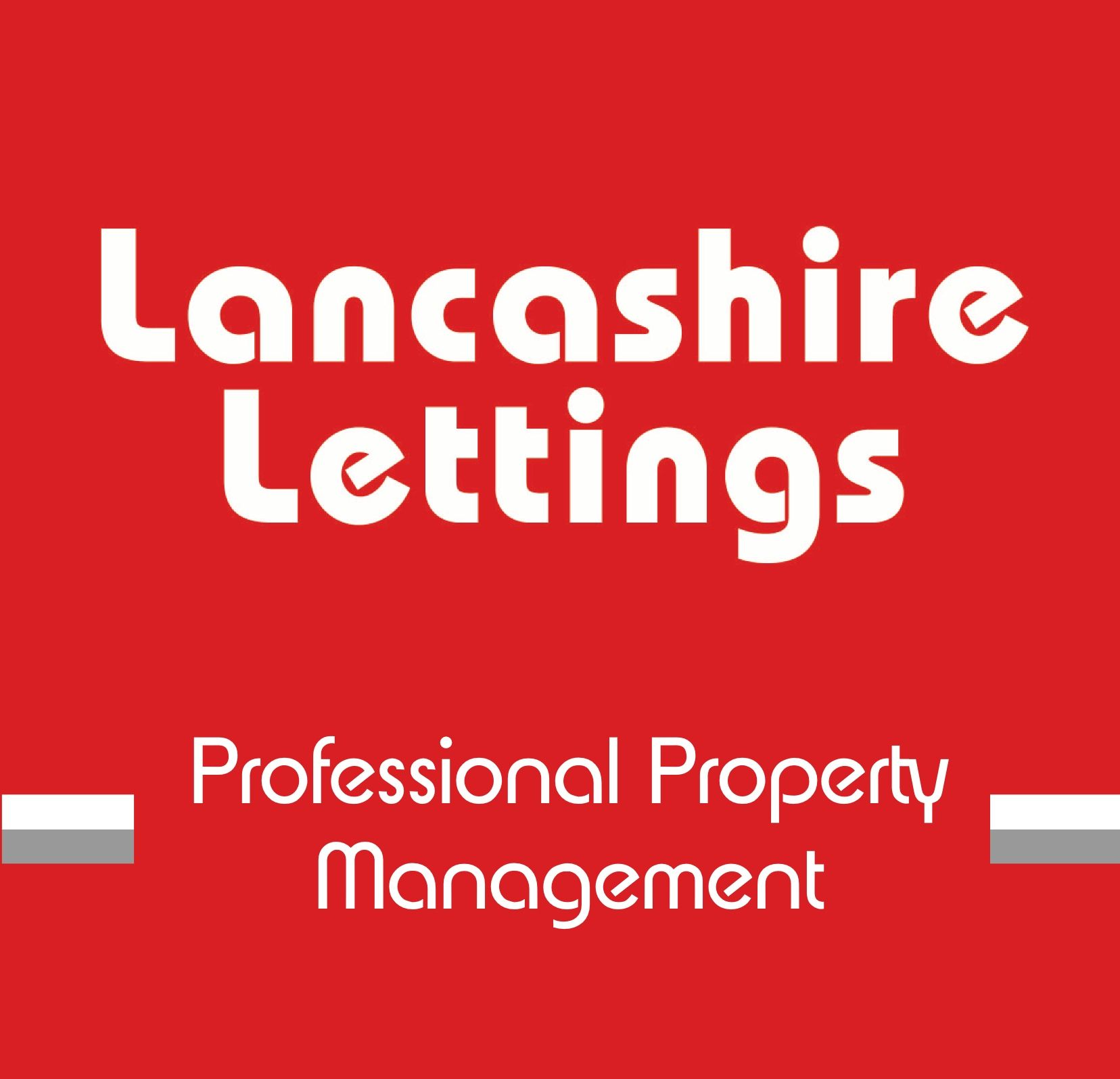 Company logo of Lancashire Lettings set in red rectangle with white and grey lines and white text