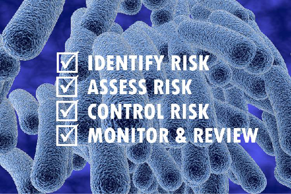 A picture of legionella virus bacteria with the main areas of a risk assessment set in the image.